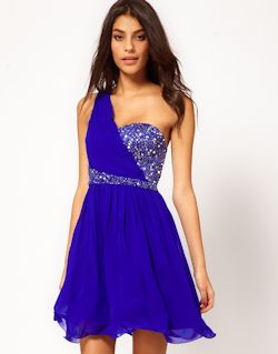 blue one shoulder