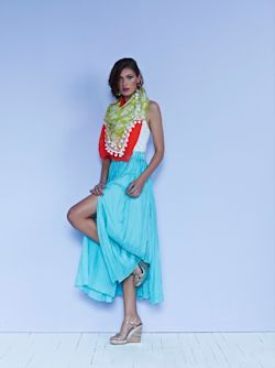 Tucked silk maxi skirt in aqua $489 with classic singlet $35 and lime print scarf $129 low res